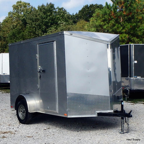 6x12 Single Axle V-Nose Cargo Trailer w/ Rear Ramp