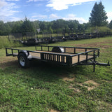 Hillbilly MFG 76X14 Single Axle ATV Utility Trailer 4' Side Rail Ramps and Radial Tires - Haul Supply
