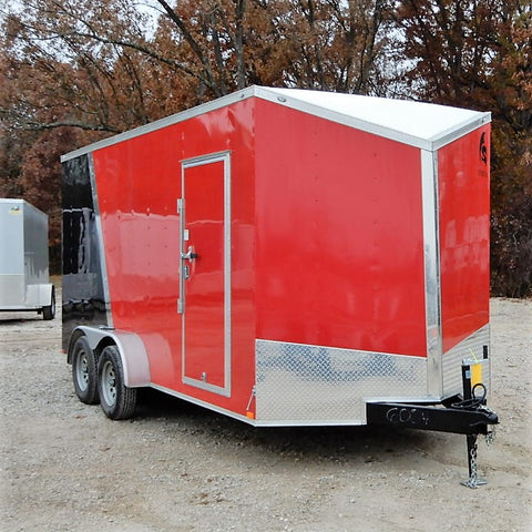 "7x16 Tandem Axle Slanted Nose Cargo Trailer with 84"" Interior Height 15"" Radial Tires and LED Lights"