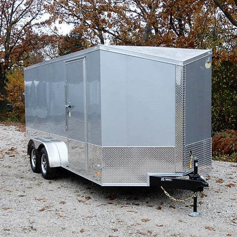 "7x16 Tandem Axle Motorcycle Trailer with Slanted V-Nose 78"" Interior Height Screwless Exterior and Aluminum Spider Wheels"