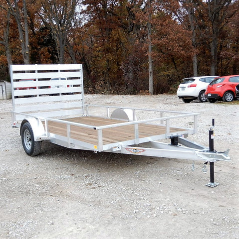 82X12 Single Axle Aluminum Trailer With Lay Down Gate Radial Tires & LED Lights