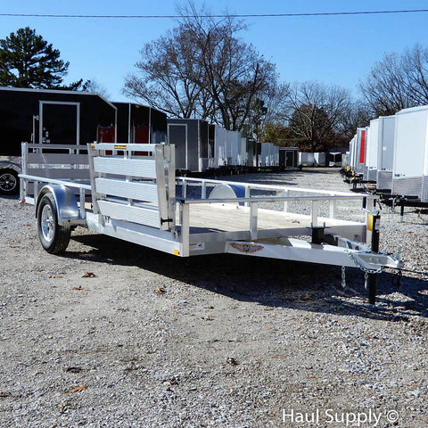 82X14 Single Axle All Aluminum Trailer With Bi Fold Gate Side Gate Radial Tires & LED Lights