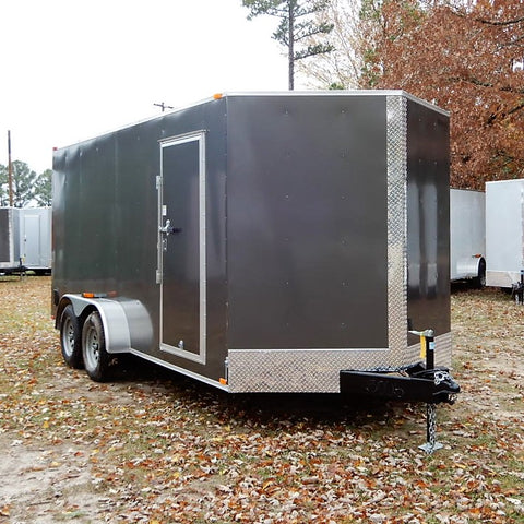 "7x16 Tandem Axle V-Nose Cargo Trailer with 78"" Interior Height and Rear Ramp"