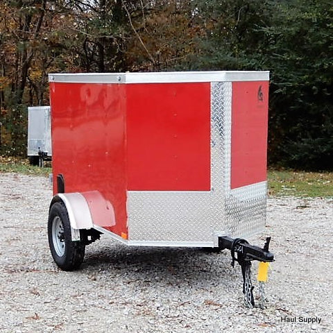 4x6 Single Axle V-Nose Cargo Trailer with Rear Swing Door and LED Lights