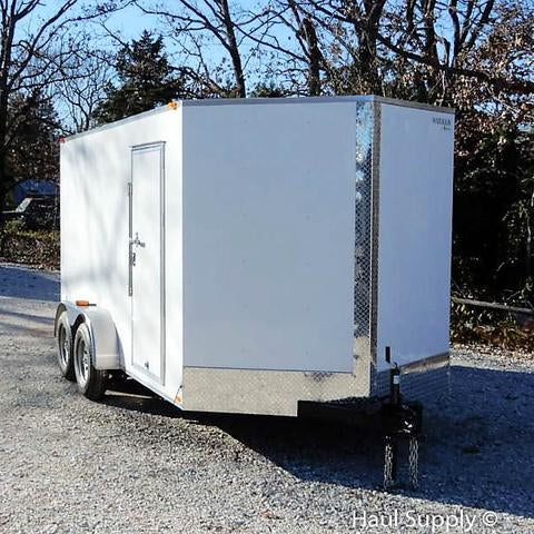 "6X12 Tandem Axle V-Nose Cargo Trailer with 78"" Interior Height Rear Ramp and 15"" Radial Tires"