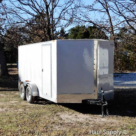 7x14 Tandem Axle V-Nose Cargo Trailer with Rear Ramp