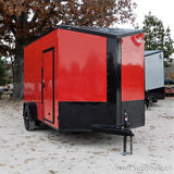 "7x12 UTV PACKAGE- Extra Heavy Duty 5200 LB Single Axle Slanted V-Nose Cargo Trailer with 84"" Interior Height and LED Lights"
