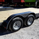 83X18 7K Car Hauler with Rear Slide in Ramps Dexter Axles Radial Tires a Powder Coat Finish and LED Lights