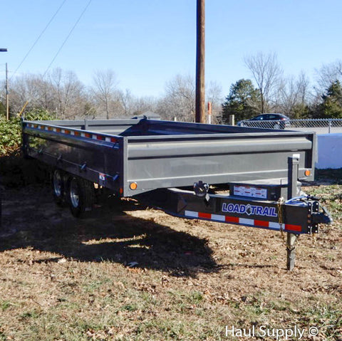 "96x16 Tandem Axle Pintle Hook Deck Over Dump Trailer with 18"" Fold Down Sides 18"" 3 Way Gate and LED Lights"