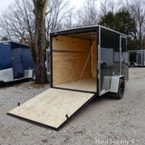 "6x10 Single Axle Slanted V-Nose Cargo Trailer with Rivetless Exterior Rear Ramp 15"" Radial Tires and LED Lights"