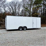 "8.5X24 Tandem Axle V-Nose Car Hauler with 84"" Interior Height 5200 lb Axles Rear Ramp and LED Lights"