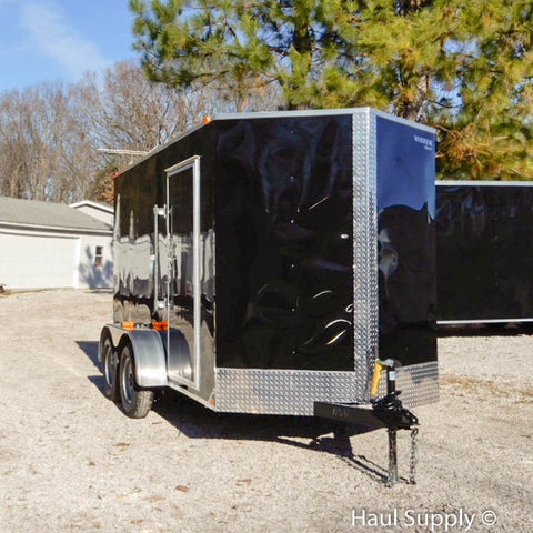 "6x12 Tandem Axle V-Nose Cargo Trailer with 78"" Interior Height Double Rear Doors and 15"" Radial Tires"