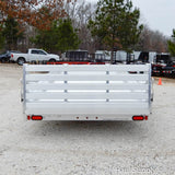 "81x14 Single Torsion Axle Aluminum Utility Trailer with Side Ramps 59"" Bi-fold Rear Gate 14"" Radial Tires and LED Lights"