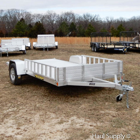 "81x12 Single Torsion Axle Aluminum Trailer with Rear Ramps 14"" Radial Tires and LED Lights"
