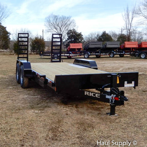 "82x20 Tandem Axle 14K Equipment Trailer with 5' Stand Up Ramps 16"" 10 Ply Radials and LED Lights"
