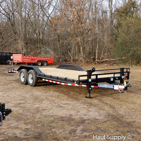"102X22 Tandem Axle Car Hauler Trailer with Slide-In Ramps DoveTail 16"" Radial Tires and LED Lights"
