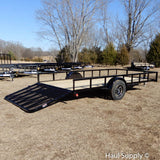 "83x14 Single Axle Utility Trailer with 4' Fold Gate 15"" Radial Tires and LED Lights"