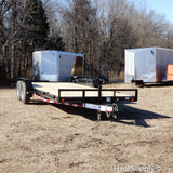 "83x20 Tandem 10K Axle Car Hauler with Rear Slide in Ramps 15"" Radial Tires and LED Lights"