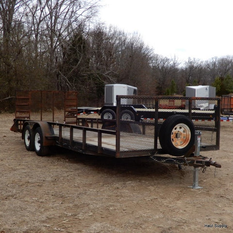 Used 7X20 Tandem Axle Utility Trailer with Heavy Duty Drop Gate