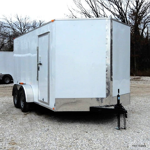"7x14 Tandem Axle V-Nose Cargo Trailer with 78"" Interior Height and Double Rear Doors"