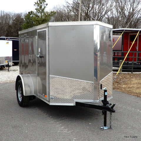 "5x8 Single Axle V-Nose Cargo Trailer with 24"" Side Door Rear Ramp and 15"" Radial Tires"