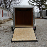 "5x8 Single Axle V-Nose Cargo Trailer with Rear Ramp and 15"" Radial Tires"
