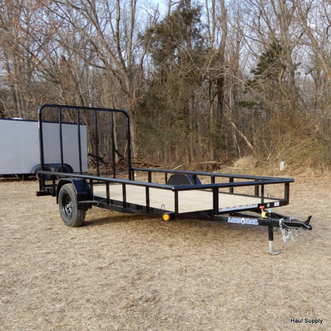 LOAD TRAIL 77X14 Single Axle Utility Trailer with 5' Fold Gate Radials & LED Lighting - Haul Supply