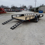 82X14 Single Axle Utility with Side Rail Ramps