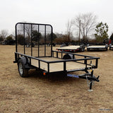 "77x10 Single Axle Utility Trailer with 5' Fold Gate 15"" Radial Tires and LED Lights"