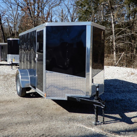 "5x10 Single Axle V-Nose Cargo Trailer with Rear Ramp and 15"" Radial Tires"