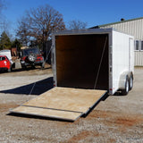 "7x14 Tandem Axle V-Nose Cargo Trailer with 75"" Interior Height Rear Ramp 15"" Radial Tires and LED Lights"