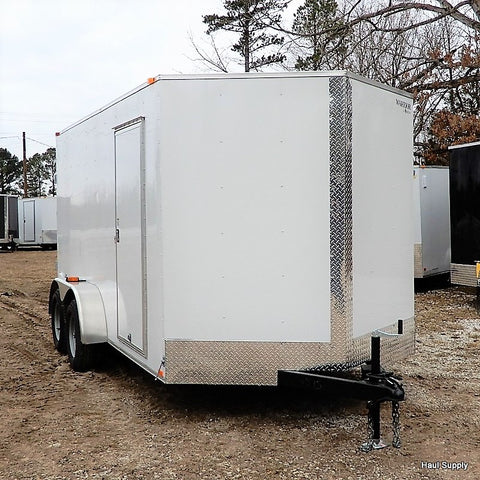 "7X14 Tandem Axle V-Nose Cargo Trailer 78"" Interior Rear Ramp and Radial Tires"