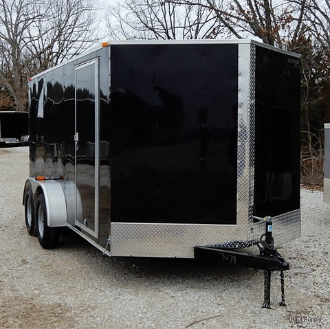 "7X16 Tandem Axle V-Nose Cargo Trailer 78"" Interior Rear Ramp with Spring Assist"