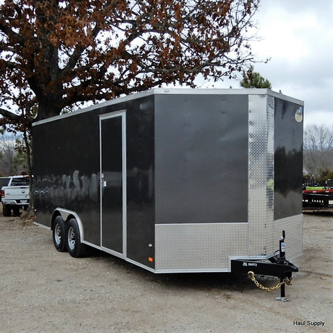 "8.5x20 Tandem Axle Car Hauler with 84"" Interior Height Rear Ramp w/ 24"" Beaver Tail and LED Lights"