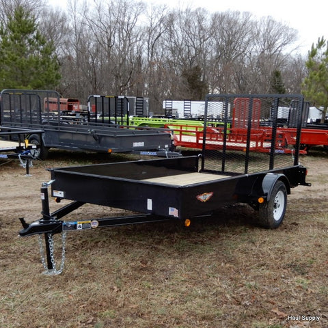 66x10 Solid Side Single Axle Utility Trailer with 4' Ramp Gate and LED Lights