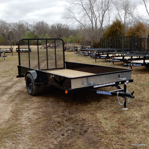"LOAD TRAIL 77x12 Single Axle Utility Trailer with 4' Fold Gate 15"" Radial Tires and LED Lights - Haul Supply"