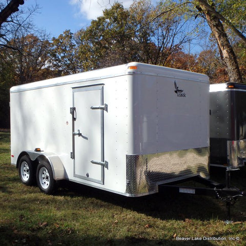 "7x14 Tandem Axle Cargo Trailer with 78"" Interior Height Rear Ramp 15"" Radial Tires and LED Lights"