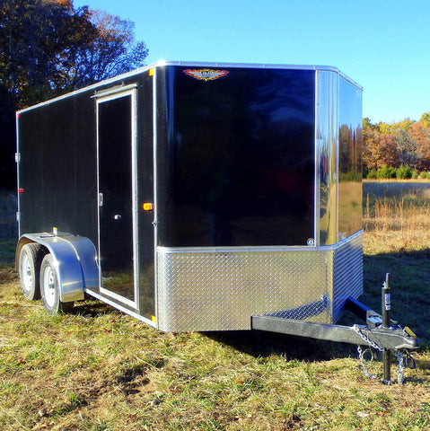 "7X14 Tandem Axle Cargo Trailer with 12"" Extra Height Rear Ramp Radial Tires & LED Lights"