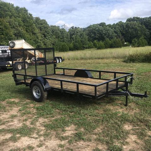 Hillbilly MFG 76X12 Single Axle Utility Trailer 4' Rear Gate Radial Tires and LED Lights - Haul Supply