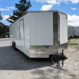 8.5X24 Tandem Axle V-Nose Enclosed Car Hauler Rear Ramp Beaver Tail Radial Tires and LED Lights