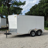 COVERED WAGON TRAILERS 6X12 Tandem Axle V-Nose Cargo Trailer Double Doors and Radial Tires - Haul Supply