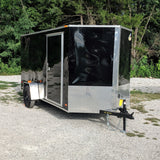 COVERED WAGON TRAILERS 6X12 Single Axle V-Nose Enclosed Cargo Trailer Rear Ramp and Radial Tires - Haul Supply
