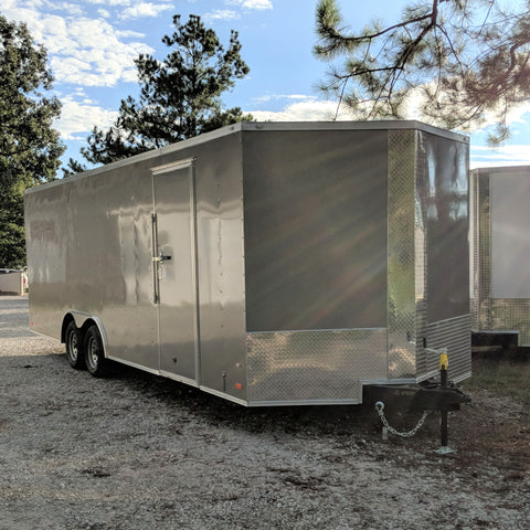 "8.5X24 Tandem Axle V-Nose Enclosed Car Hauler Rear Ramp 84"" Interior Radial Tires and LED Lights"