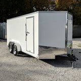 7X16 Tandem Axle V-Nose Enclosed Cargo Trailer Double Rear Doors Radials and LED Lights