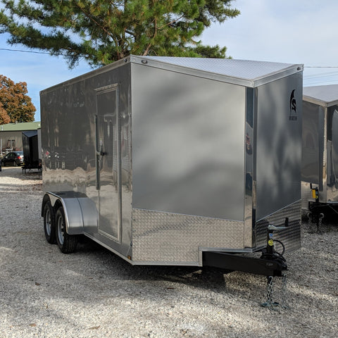 "7X16 Tandem Axle Slant V-Nose Enclosed Cargo Trailer 78"" Interior Rear Ramp Radials and LEDs"