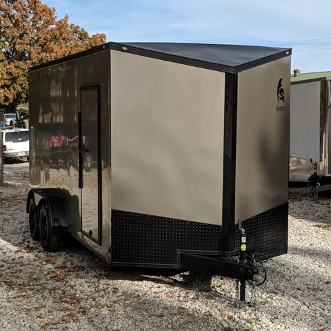 "7X16 Tandem Axle Slant V-Nose Enclosed Cargo Trailer Screwless 84"" Interior Rear Ramp Radials and LEDs"
