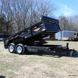 "83X14 Dump Trailer w/ Heavy Duty Steel Floor Rear Slide in Ramps 24""Dump Sides with Barn Door Style Rear Gate 16"" Radial Tires and LED Lights"