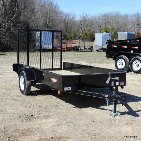 5x10 Solid Side Single Axle Utility Trailer with 4' Ramp Gate and LED Lights