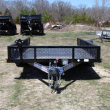 "77X14 Tandem Axle Utility Trailer with Steel Deck 15"" Radials and LED Lights"