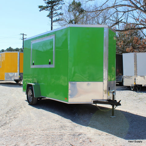 "6x12 Single Axle V-Nose Concession Trailer with 84"" Interior Height and Double Rear Doors"